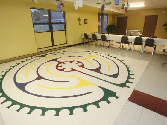 Children's labyrinth in the children's worship space for our 10:00 worship service, the Table